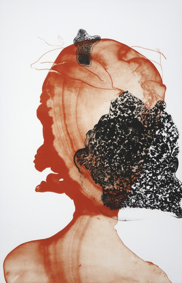 abstracted human head and shoulders in orange and black using ink washes and fine pencil drawing.