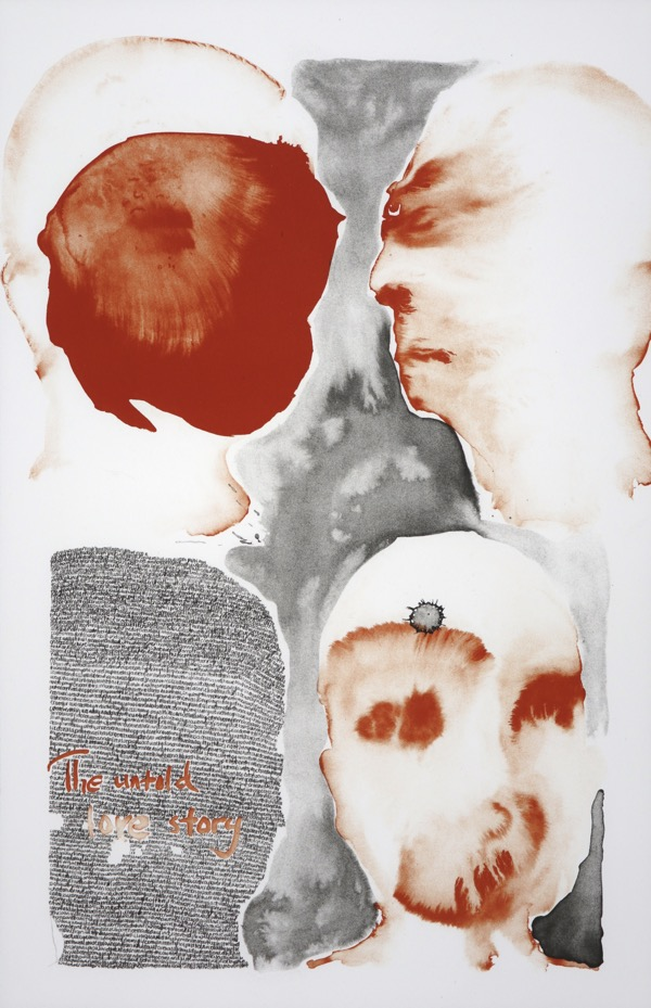 four human heads loosely painted in burnt orange and black, one head filled with handwriting