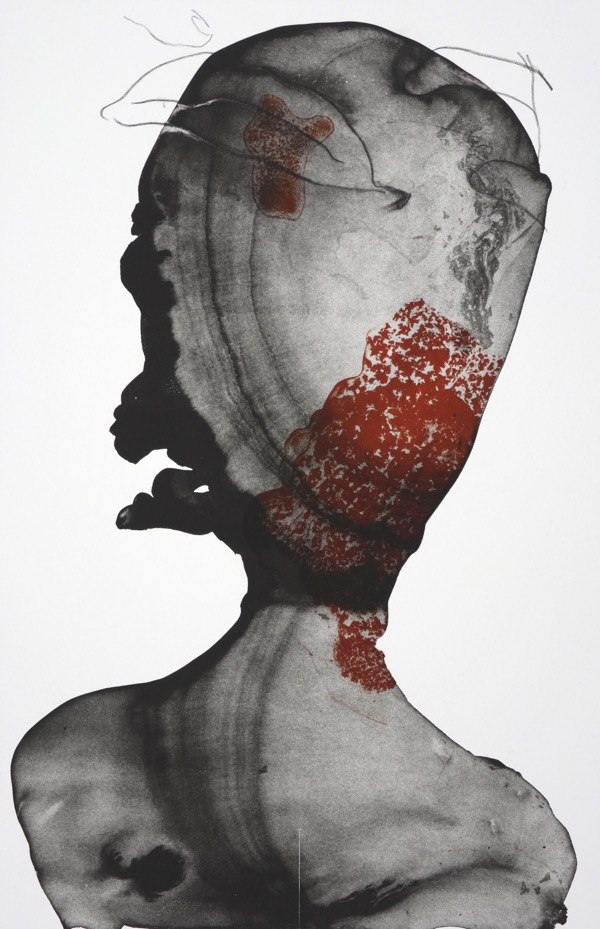 abstracted human head in black using ink washes and fine pencil drawing with lacy orange detail