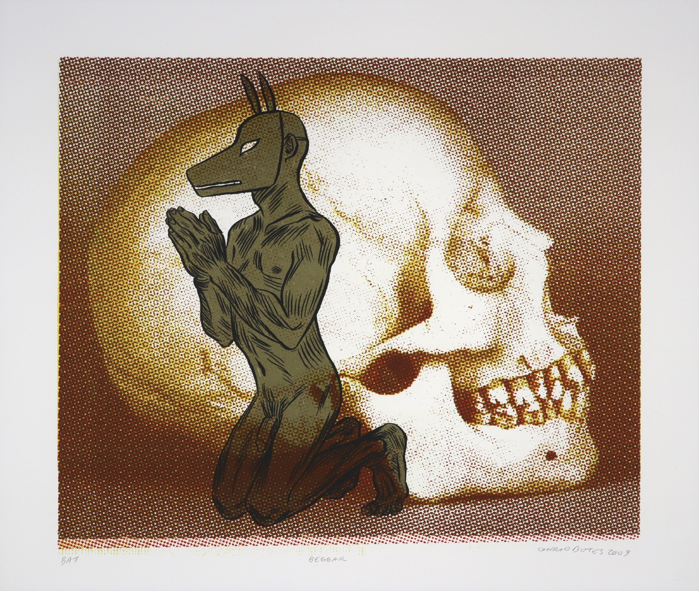 Naked man wearing dog mask kneeling in prayer in front of enlarged photograph of human skull.