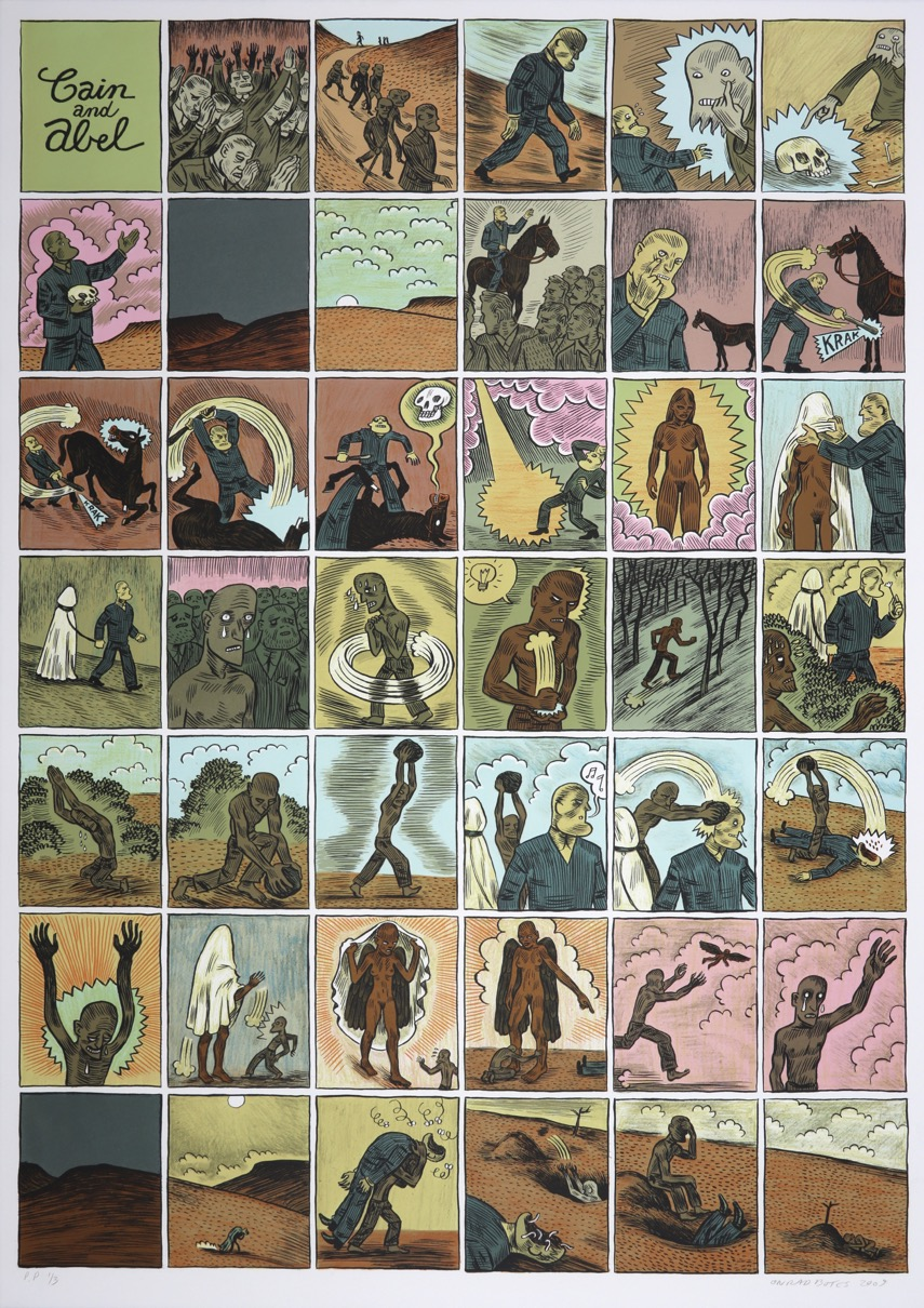 Comic layout of the story of Cain and Abel depicting figures in conflict and violence.