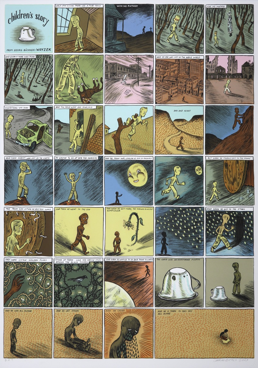Comic layout of a children's story with boy on a journey with moon, petals, thorns and tears