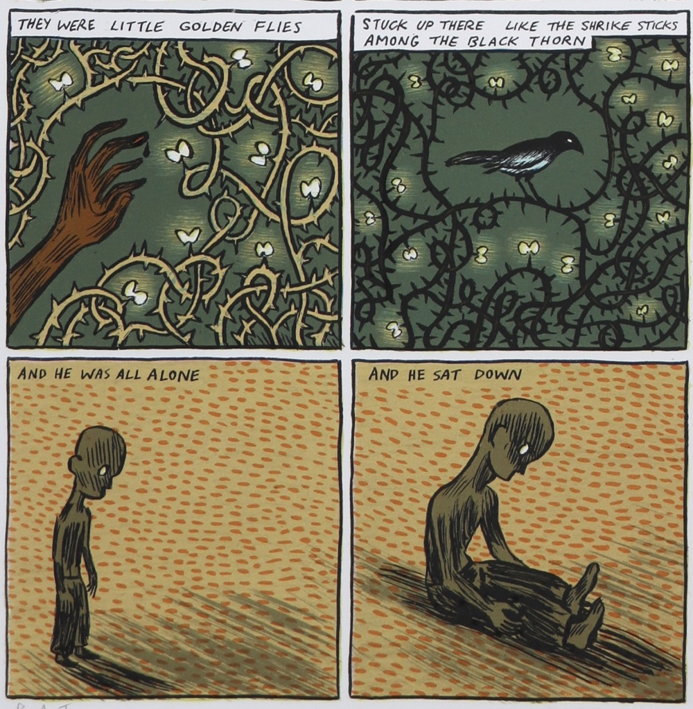 Four comic panels showing details of larger print with hand and thorns, fireflies, bird and boy.