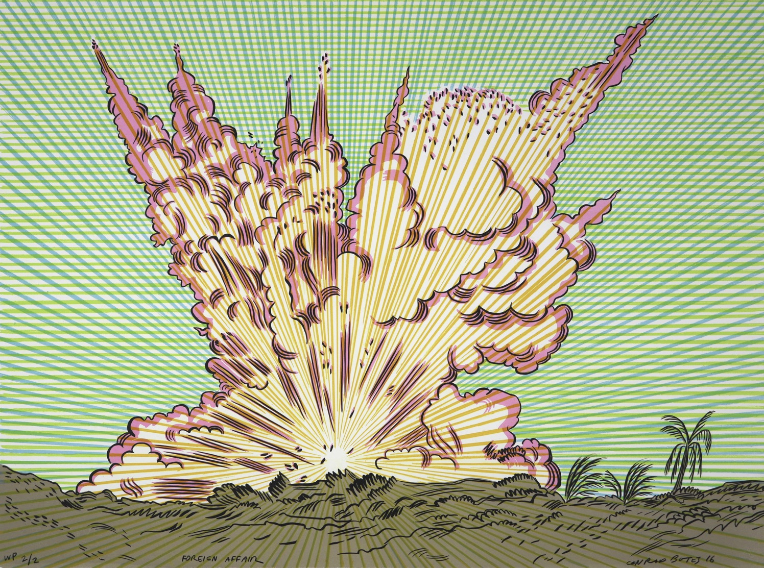Comic style depiction of an explosion on the horizon of a tropical lanscape