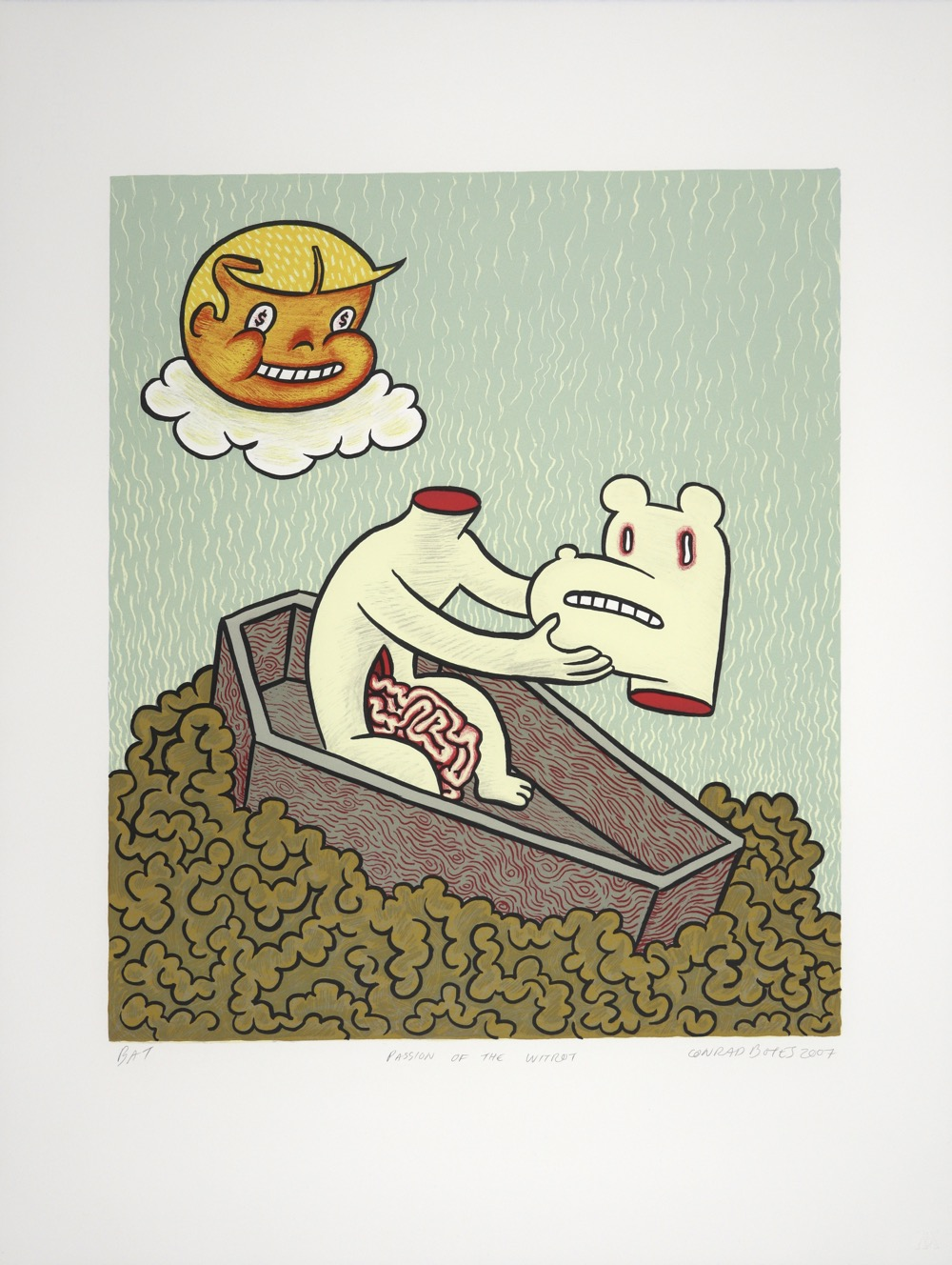 Coffin floating on entrails with dog figure removing its head with smiling boys head floating on cloud.