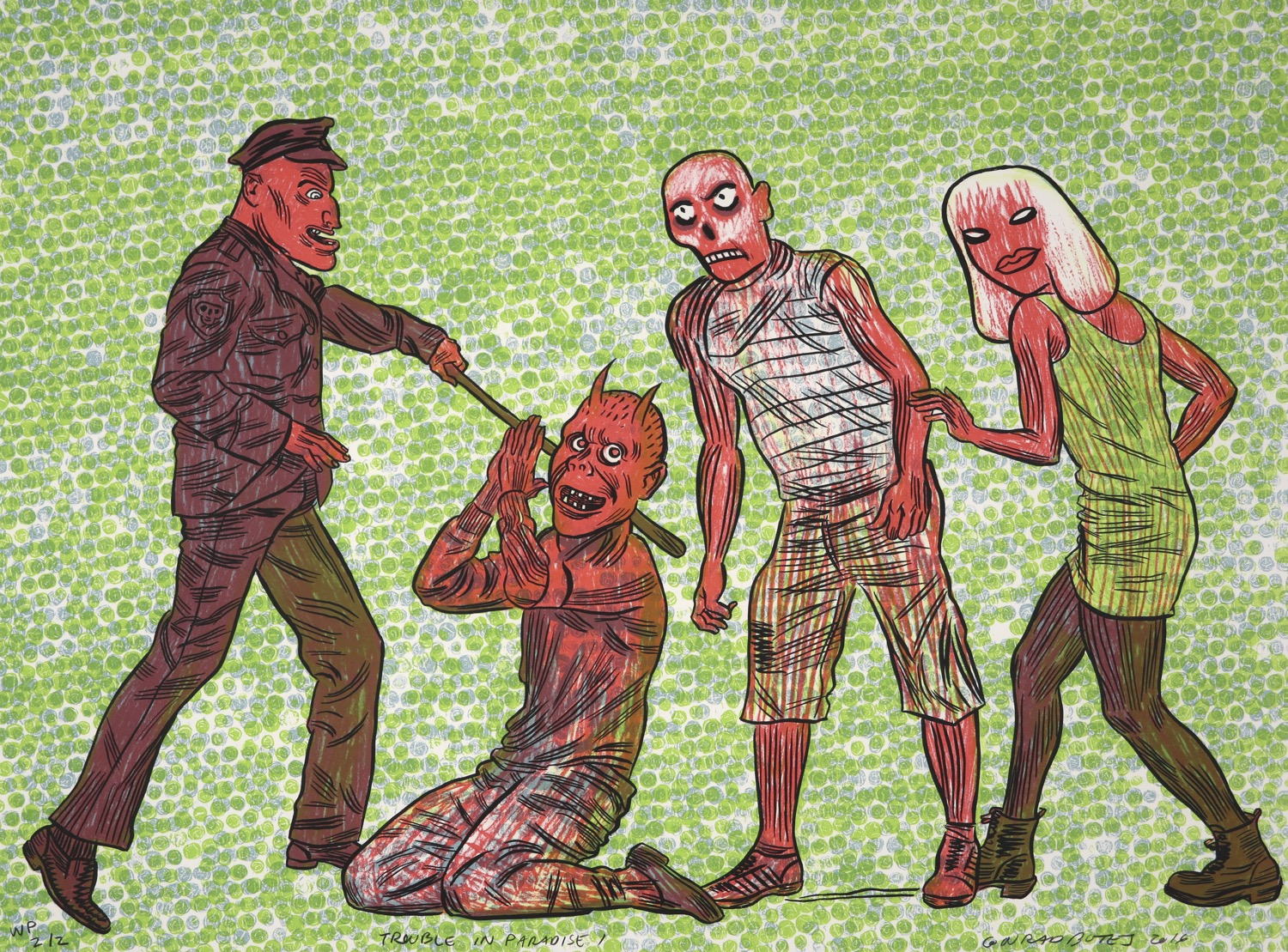Four zombie comic style human figures on a green dotted background.