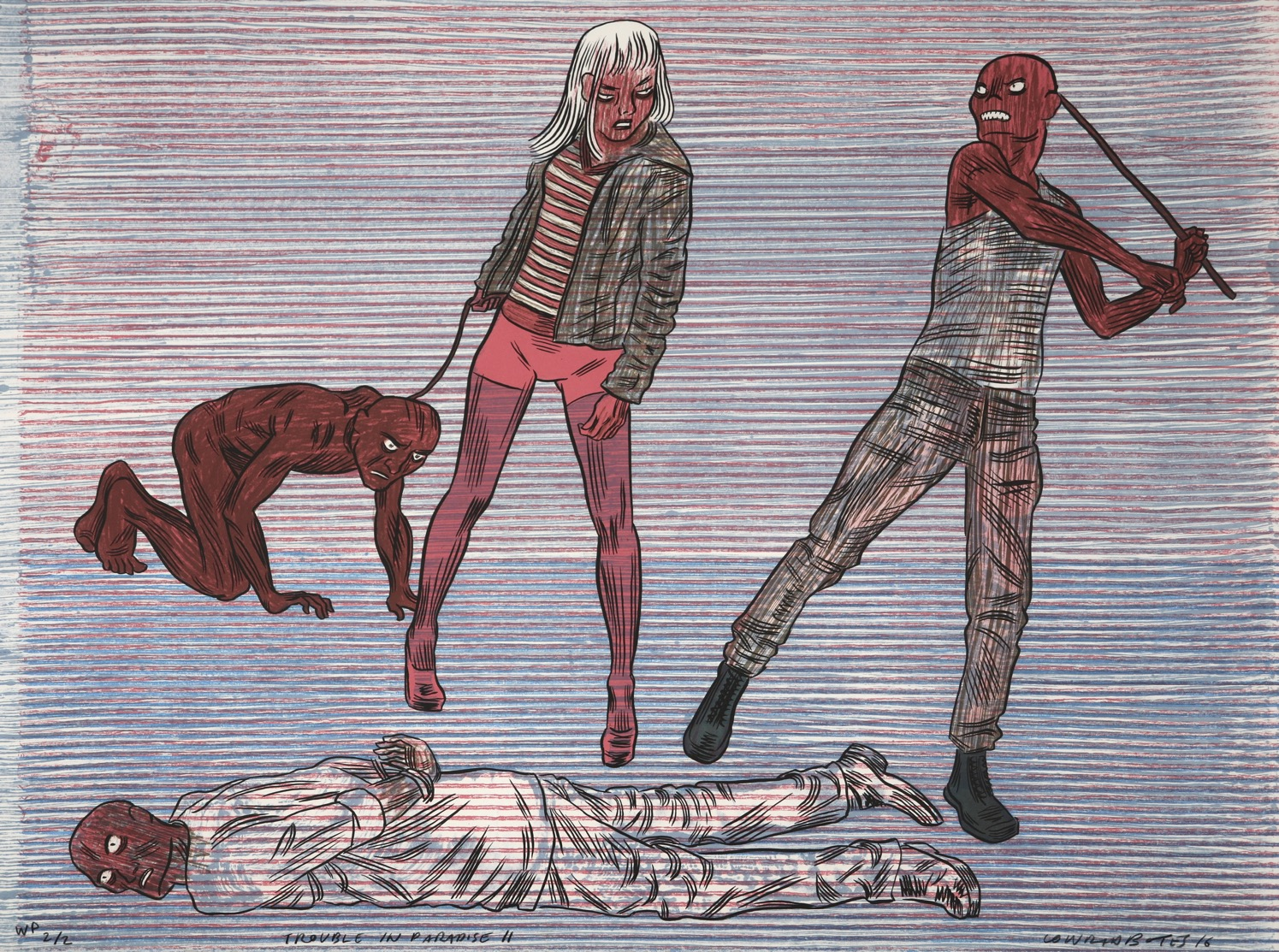 Four zombie-like human figures drawn in a comic style interacting with a striped background