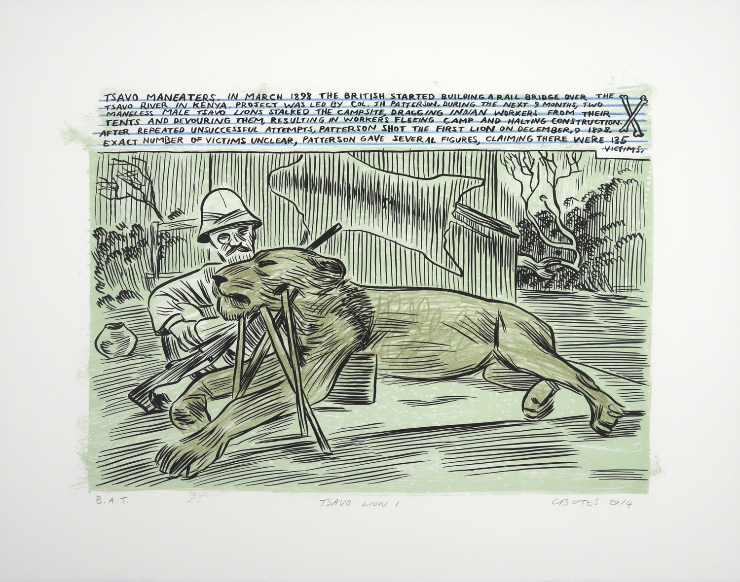 Dead lion propped up in front of hunter with pith helmet, drawn in comic style with explanatory text