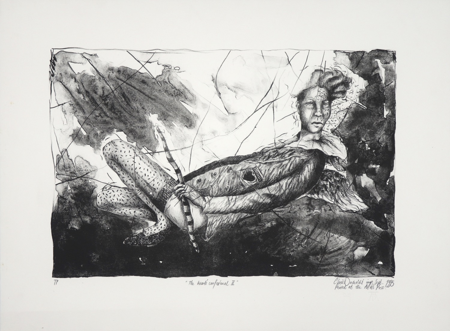 Black and white print of a reclining figure with head turned towards viewer holding a stripped stick.