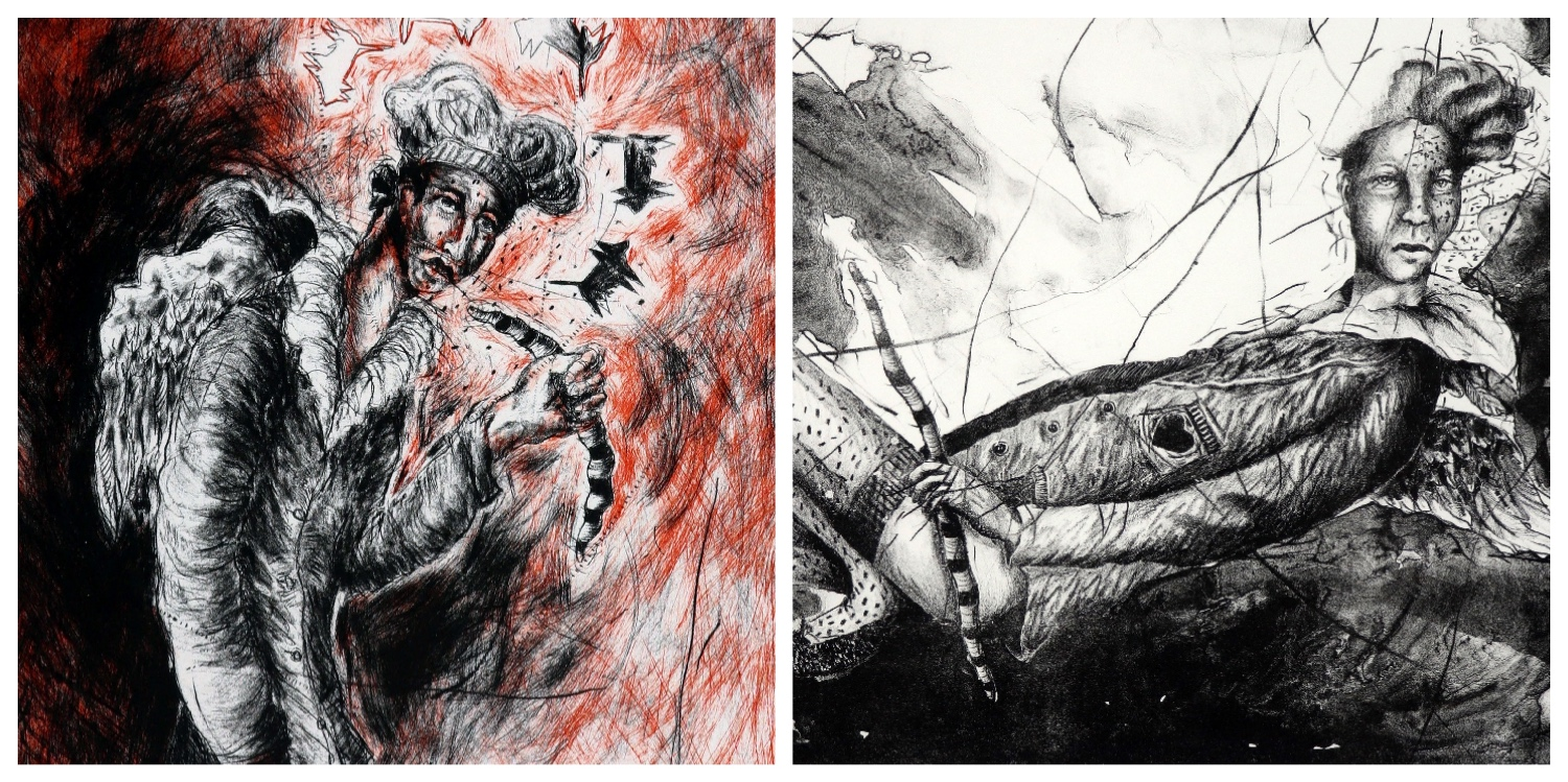Details of two prints by Chris Diedericks that are the link to his page on the website