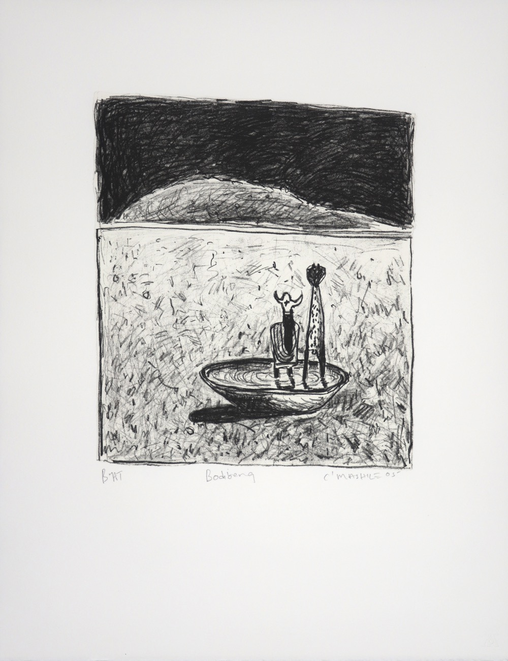 Two figures standing in a bowl of water set in a vast landscape.