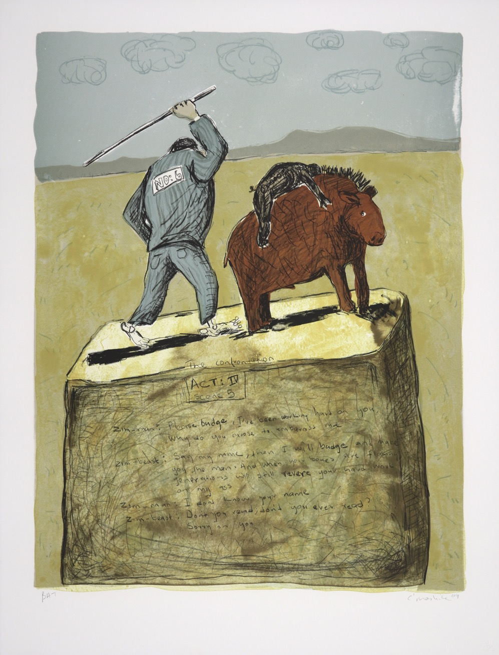 Suited man beating a beast with a creature on its back, both on a raised plinth.