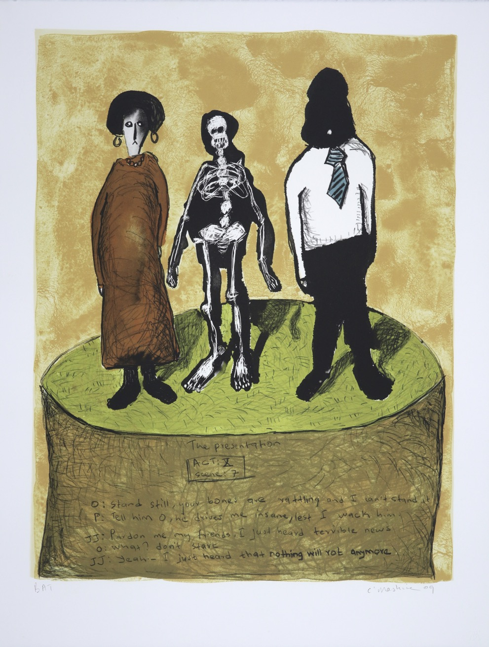 Three figures standing on a raised circular platform. The middle one is a skeleton.