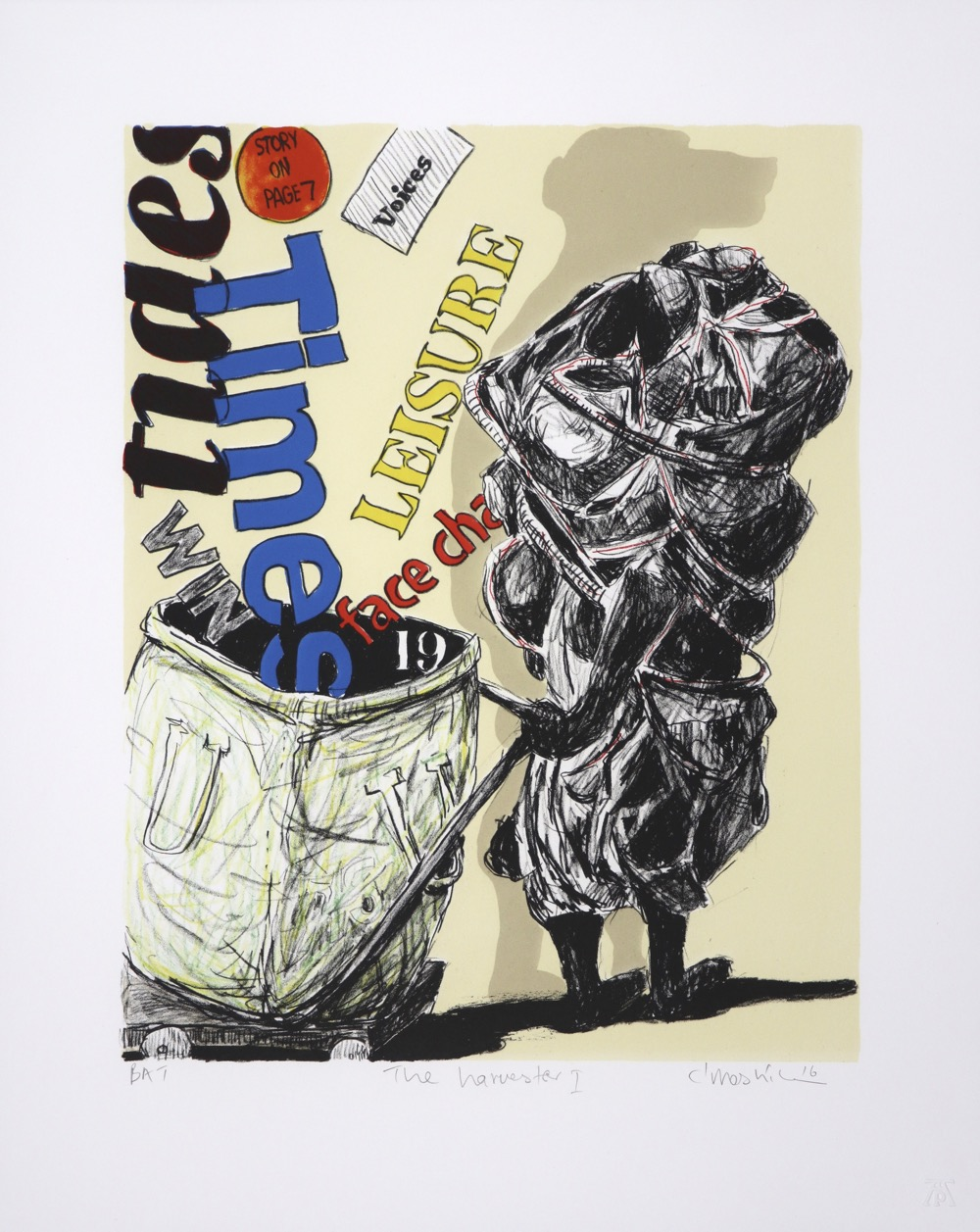 A human figure, with baboon shadow dragging recycling trolley with random media text and letters.