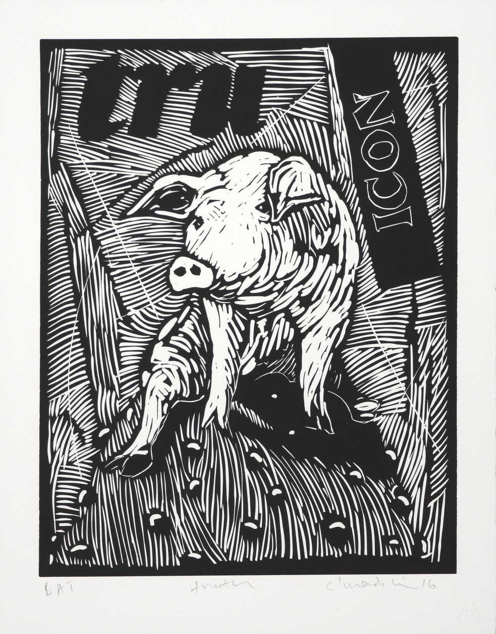 Seated pig facing forward on rounded form with random text in background