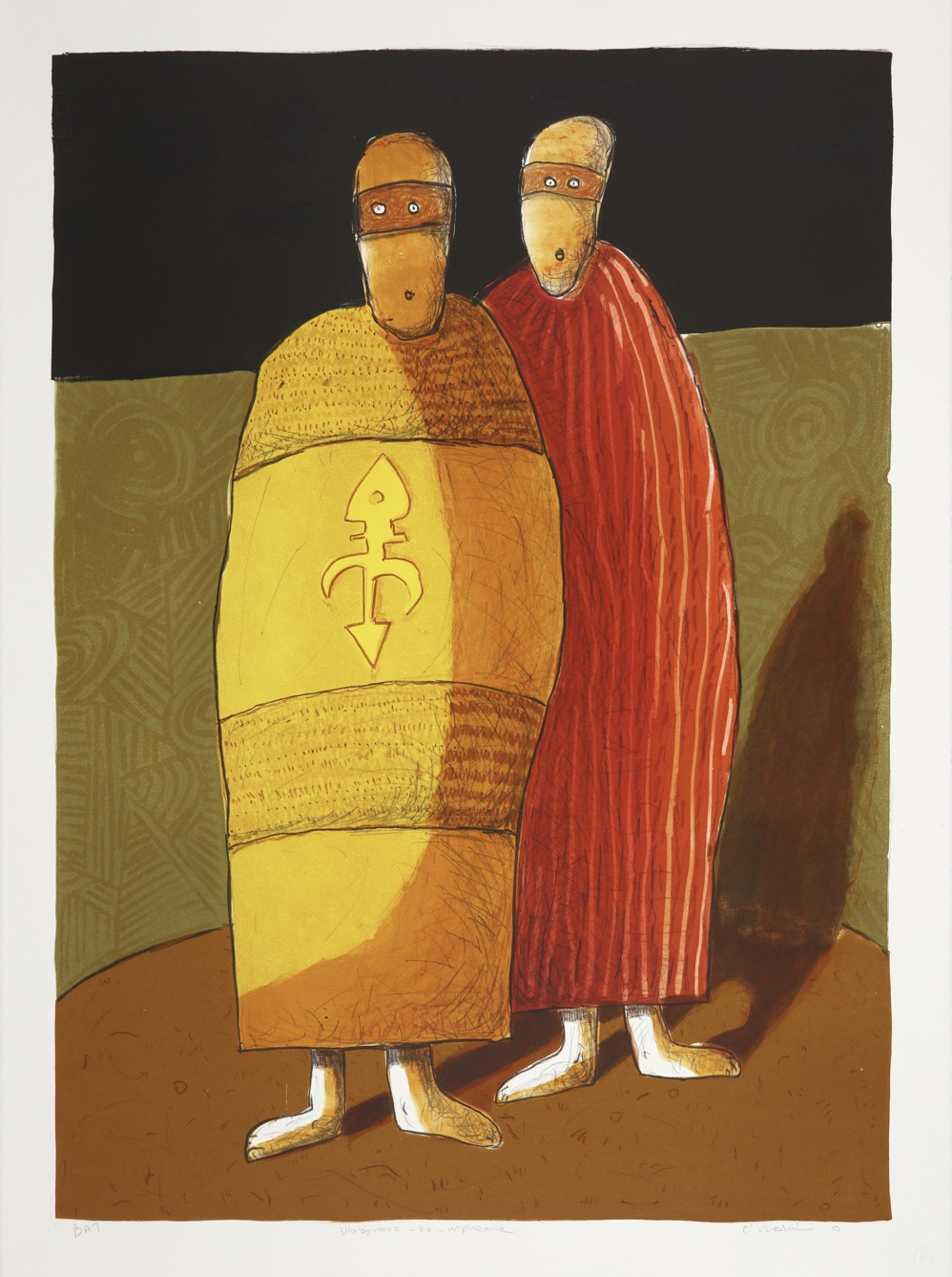 Two cloaked figures with a single shadow standing next to each other in a patterned enclosure