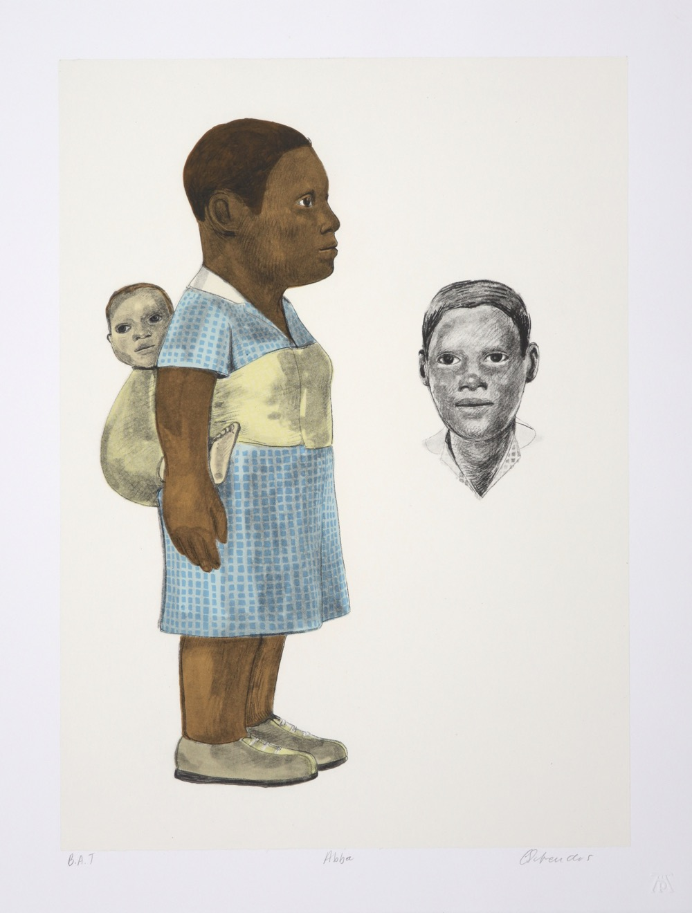Black woman in profile carrying a white baby on her back. Portrait detail of her face next to figure.