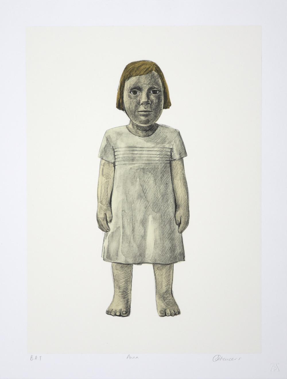Standing female toddler in  cream coloured dress facing forward
