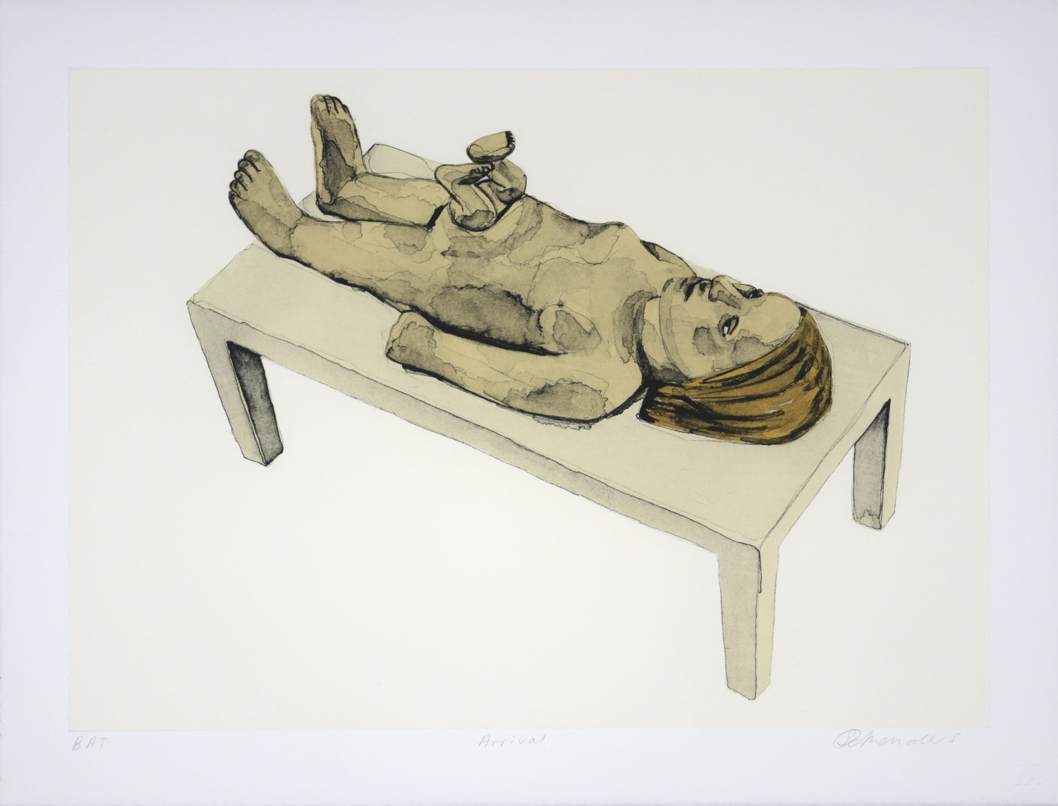 a naked woman lying on a table with a baby emerging feet first from her stomach