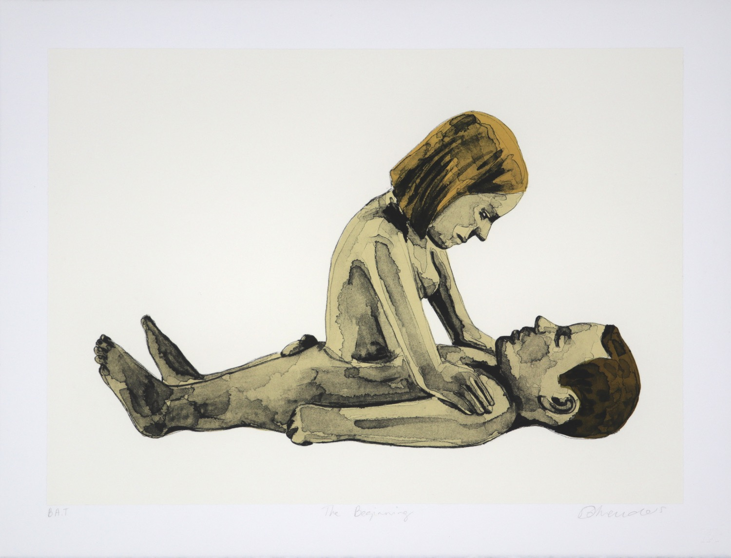 A naked male figure lying prone with a naked female figure's torso emerging from his stomach