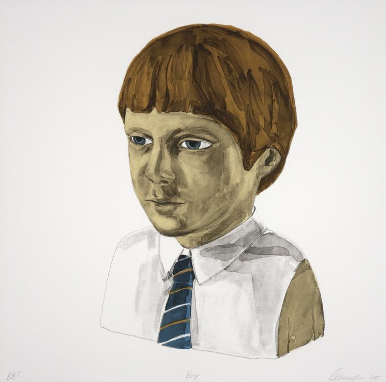 portrait bust of young boy in school uniform
