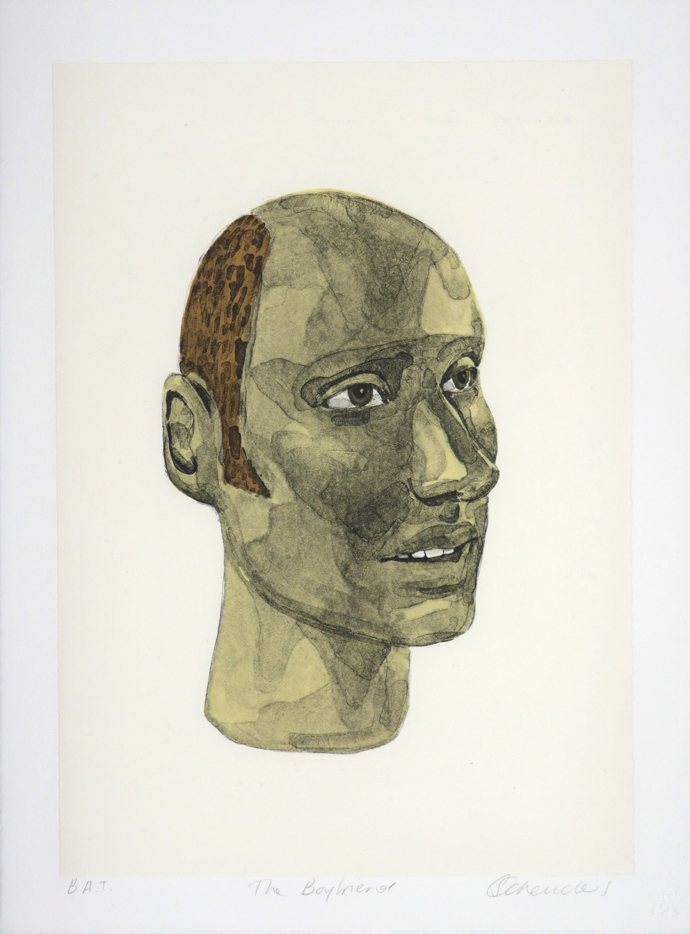 Portrait bust of a young balding man seen from the side
