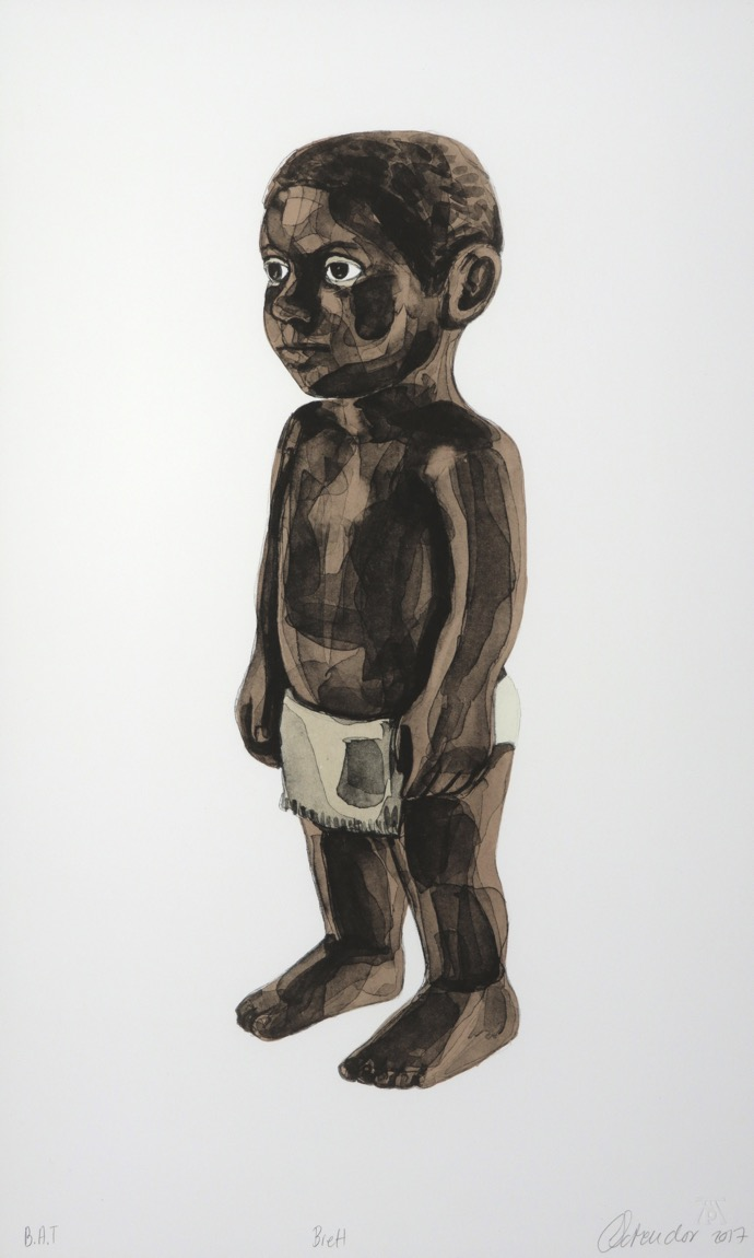 a figure of a standing toddler dressed in a loincloth facing sideways