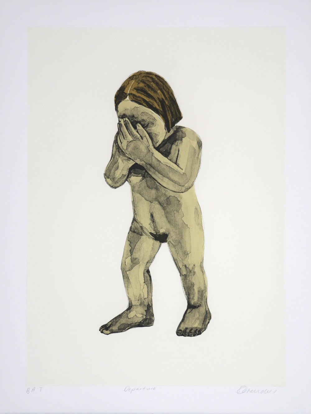 a naked female figure walking with her hands hiding her face
