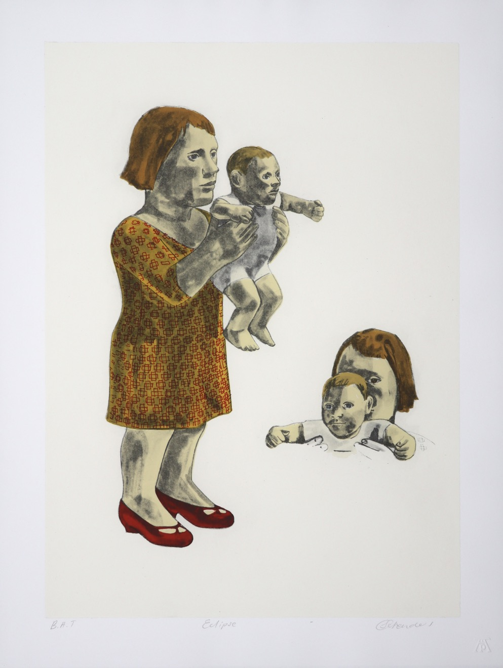 female figure holding child up in front of her with detail of their heads next to her