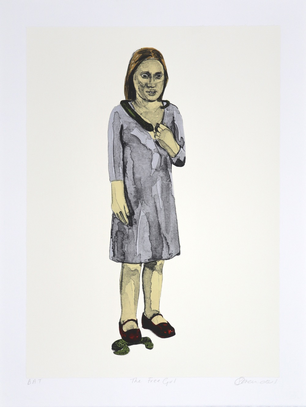 a figure of a woman standing with snake over her shoulders and another beneath her right foot