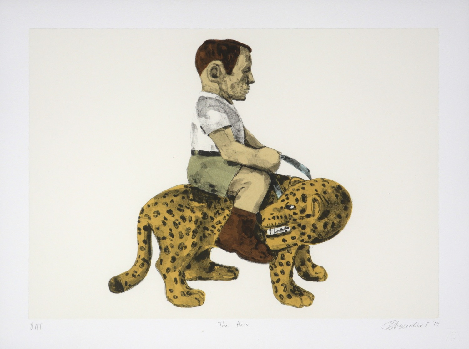a man wearing khaki shorts and a white shirt riding on the back of a leopard.