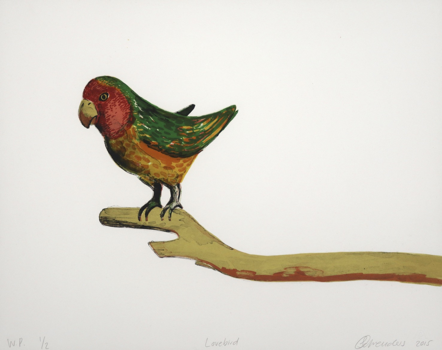 A brightly coloured love bird standing on a wooden branch perch