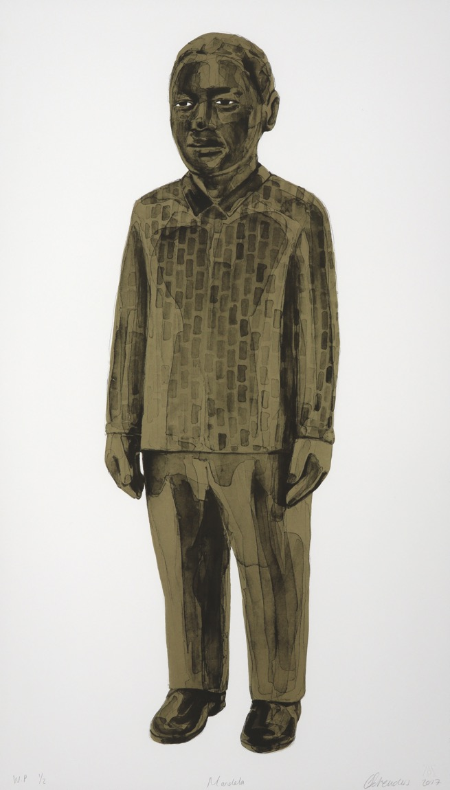 full-length portrait of Nelson Mandela standing and wearing a patterned shirt in brown tones.