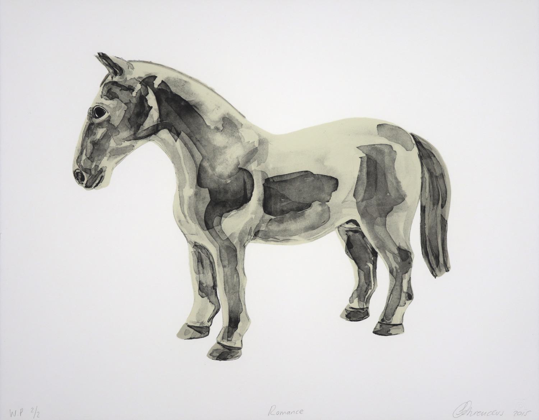 cream coloured horse in profile facing left