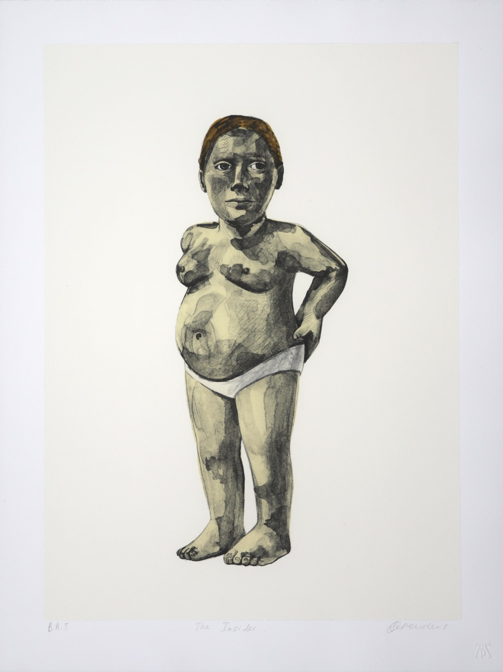 standing figure of a pregnant woman facing viewer, naked except for panties