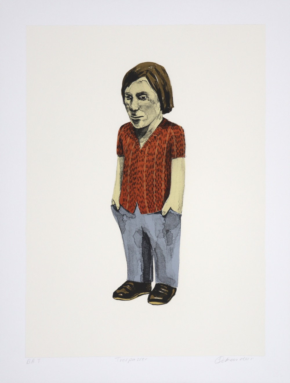 Female figure standing with her hands in her pockets, wearing a red shirt and blue trousers.