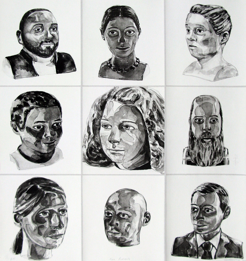 Nine portraits of men and women in black and white. Each portrait adheres to the fabric separately.