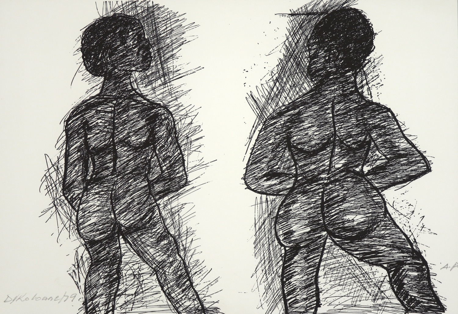 two naked human figures drawn from the back