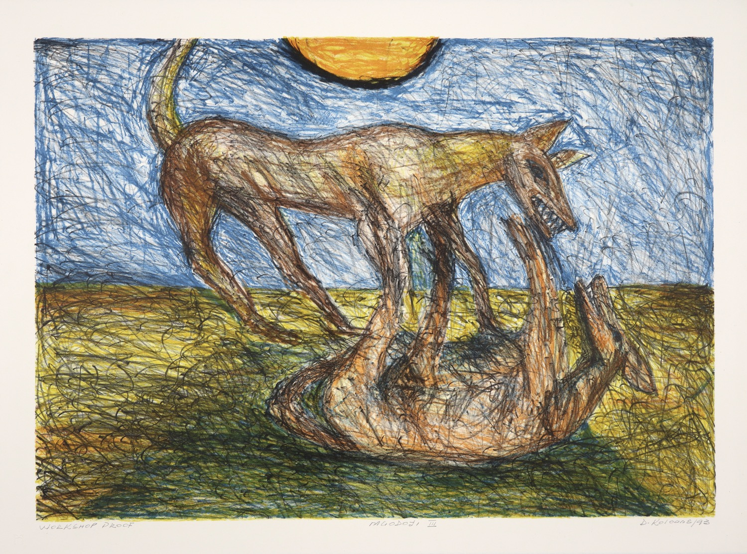 Landscape with sun with two dogs in the foreground fighting, one of them lying on its back.