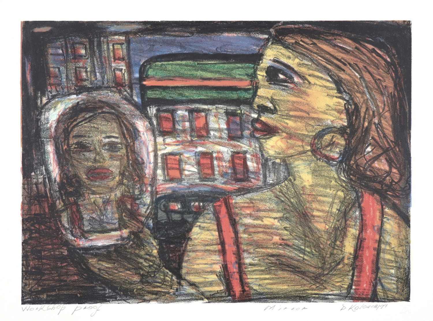 Woman in profile looking at her face in mirror with cityscape backdrop