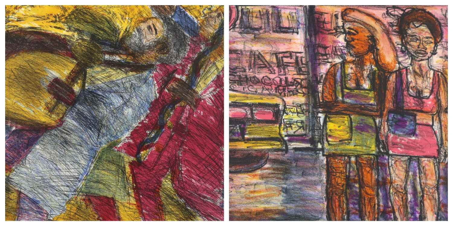 Details of two prints by David Koloane that are the link to his page on the website