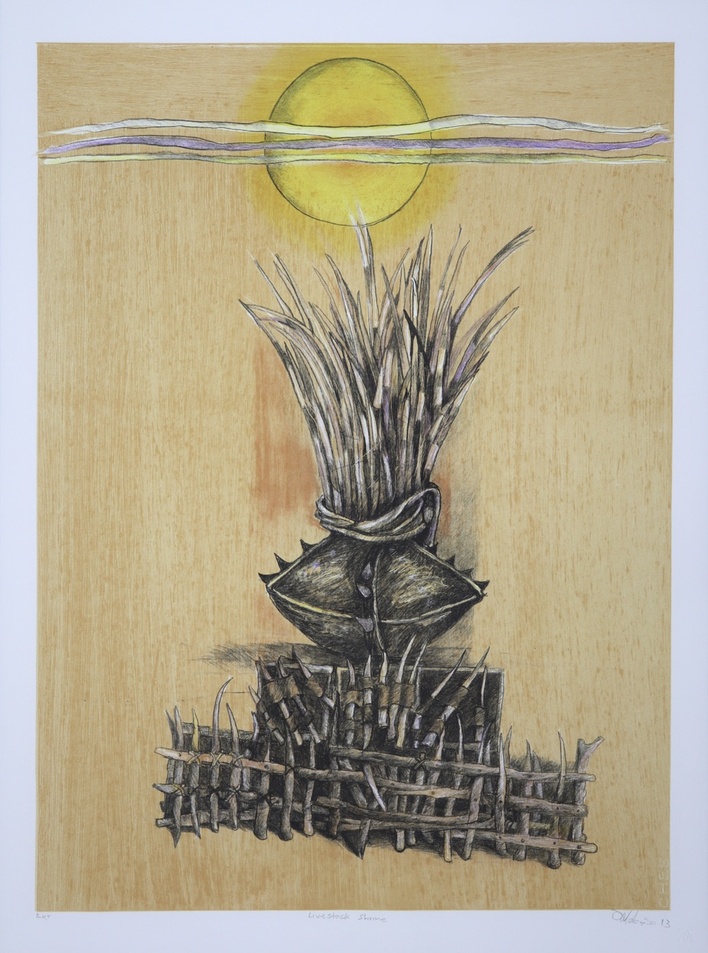 A barrier of spiky wooden posts with decorated clay vessel in middle of the frame with sun and clouds at the top.