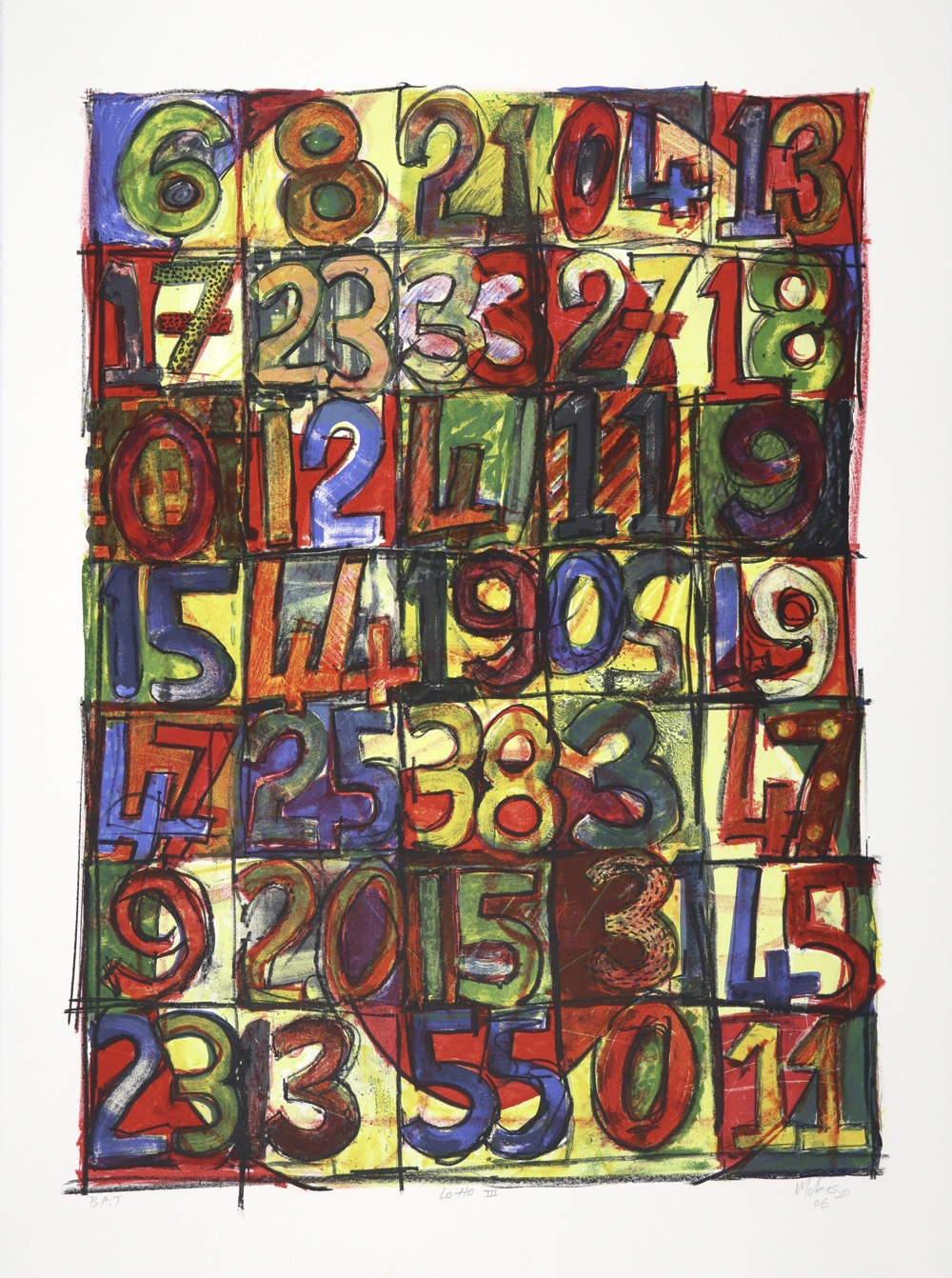 The lithograph is a grid of squares with numbers in strong colours drawn into each square.