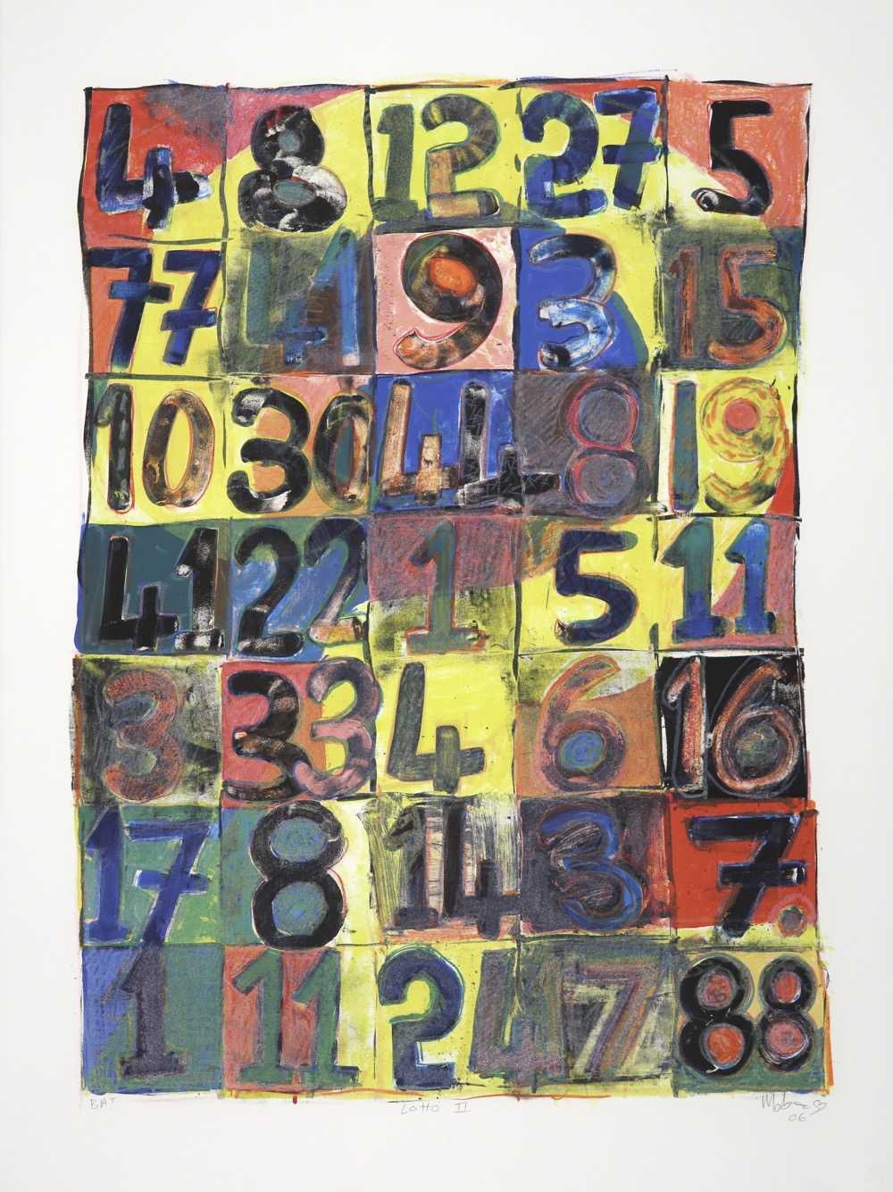 The surface of the print is divided into squares with a numeral in each one
