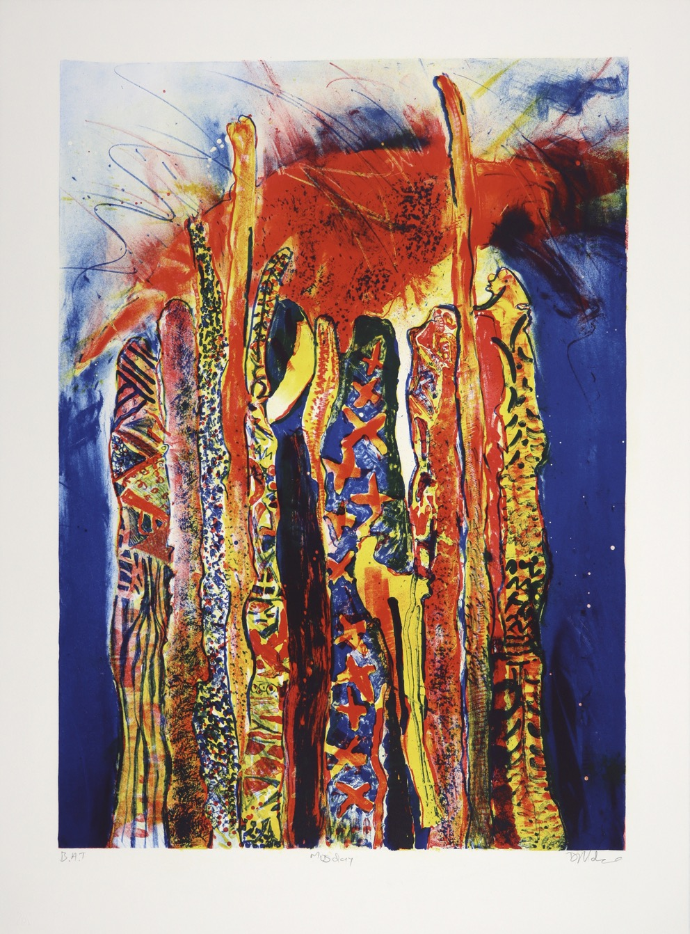 Brightly coloured lithograph of abstracted vertical log forms with the sun above them.