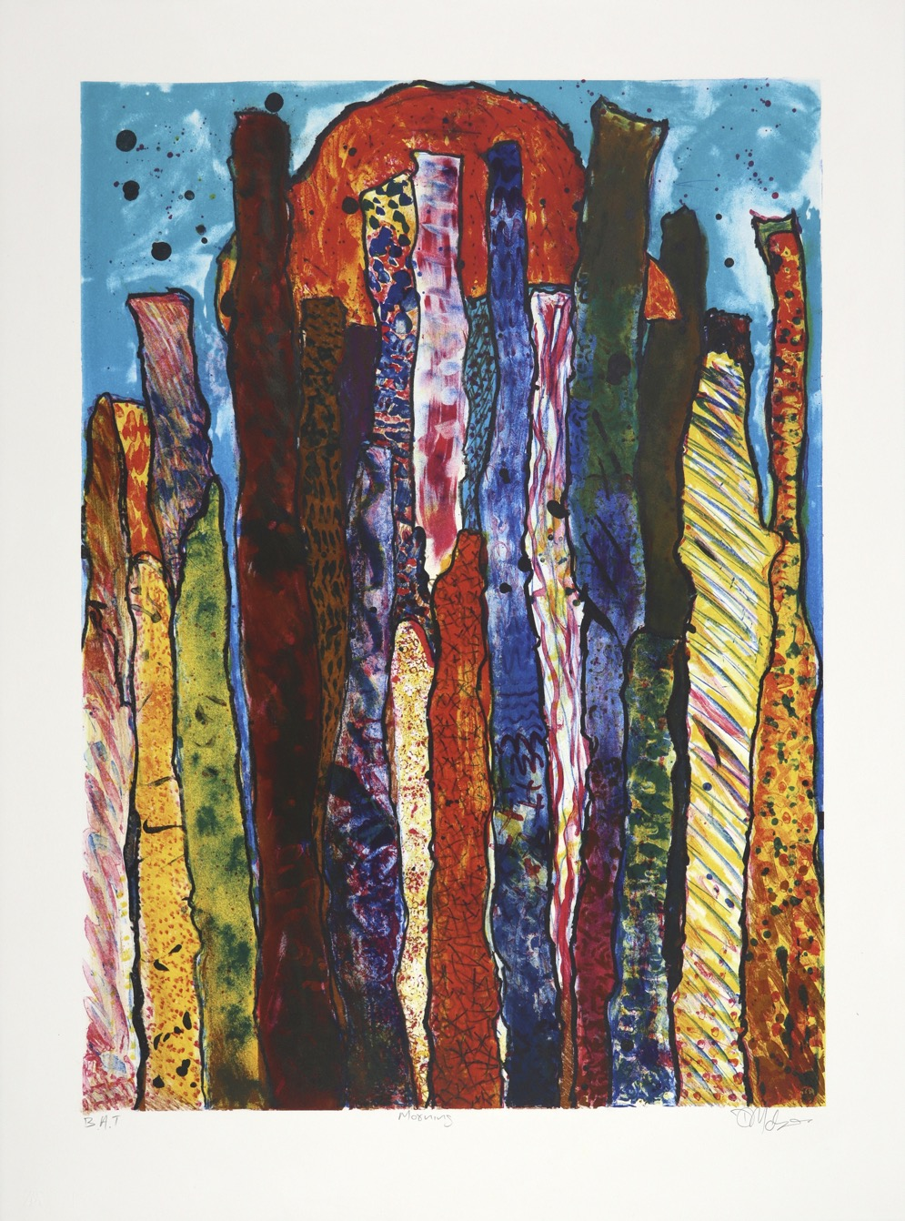 Abstracted landscape in bright colours of tree forms with a rising sun in upper background