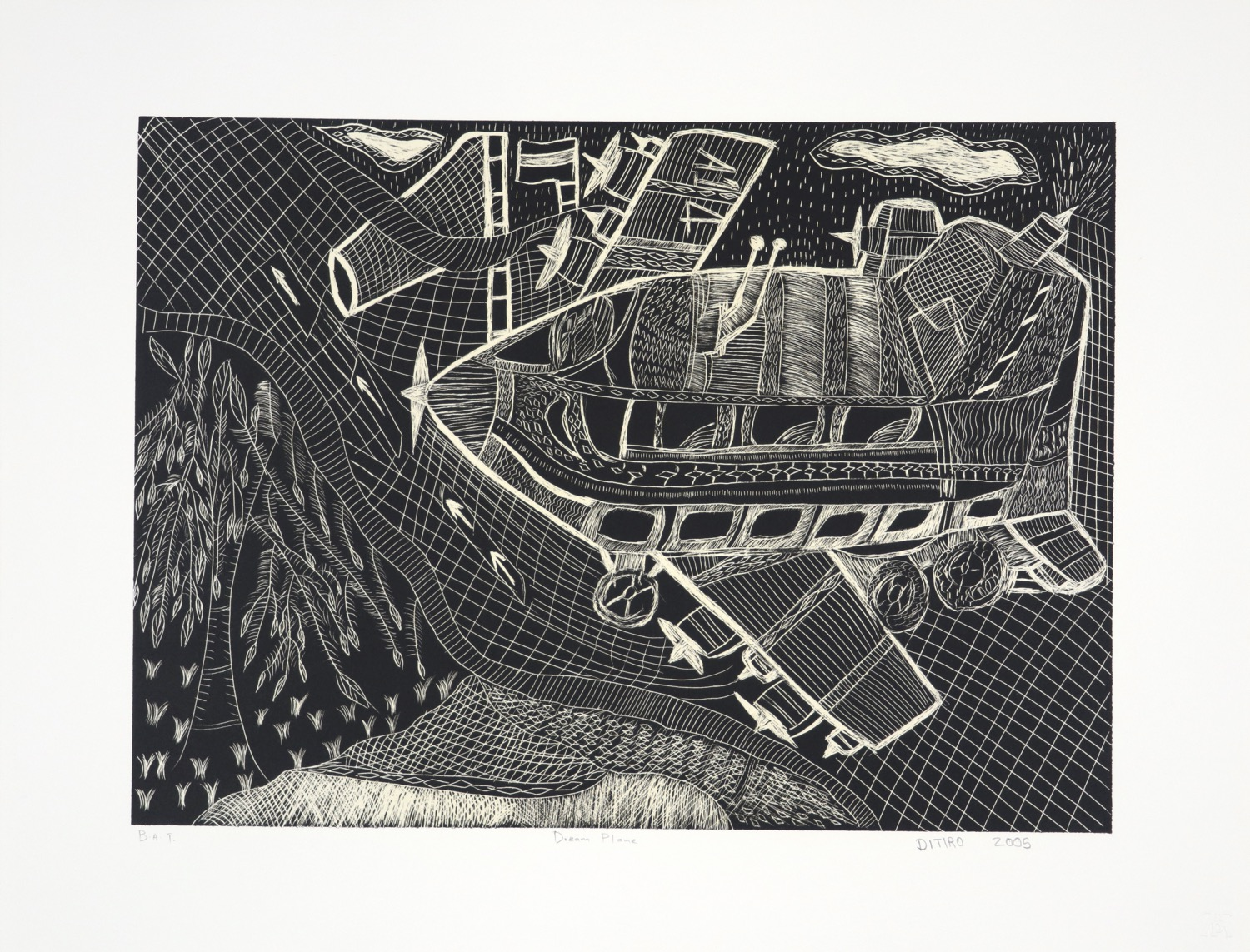 Scratch litho of a small imaginary aeroplane seen from above with landscape below.