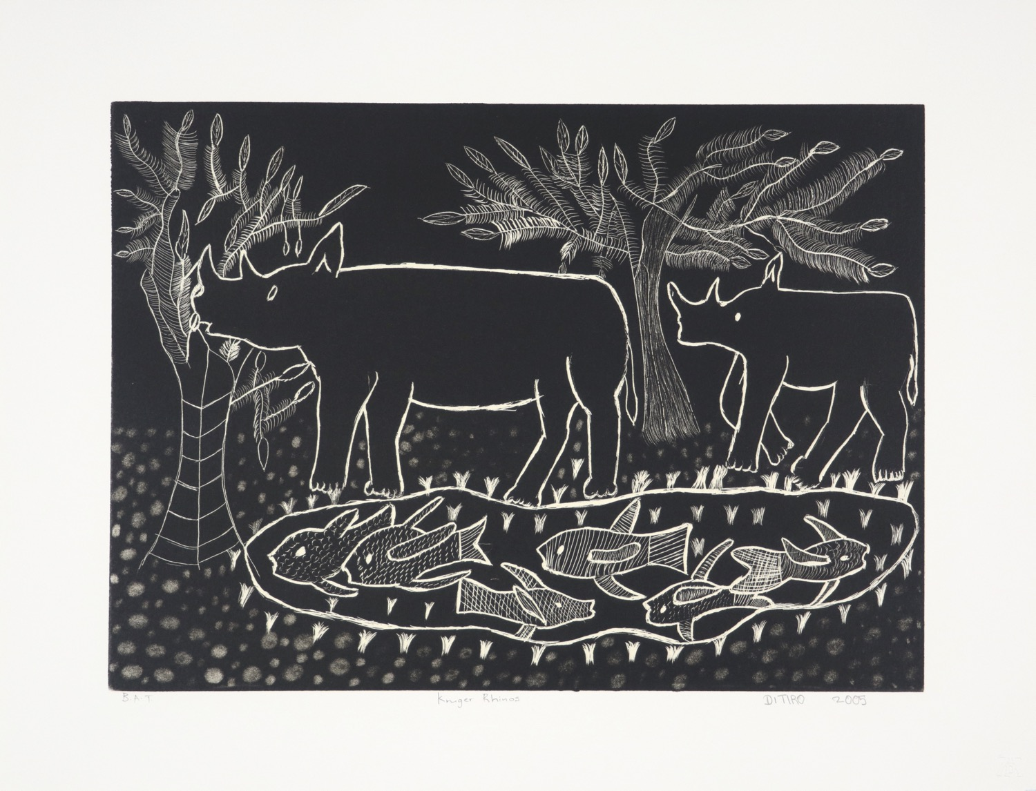 Scratch litho of a rhino cow and calf walking past a pond with fish in it