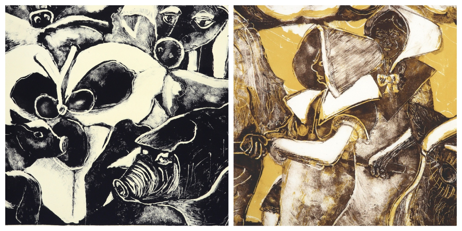 Details of two lithographs by Elza Botha that are the link to her page on the website