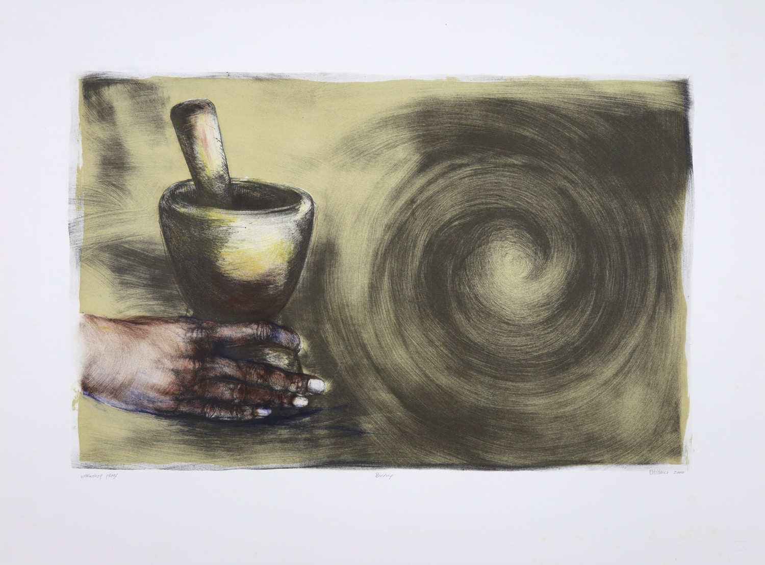 Hand holding a pestle and mortar with spiral form across second half of the lithograph